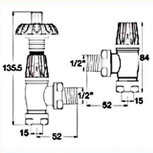 GOTHIC-AB radiator valve sizes dimensions
