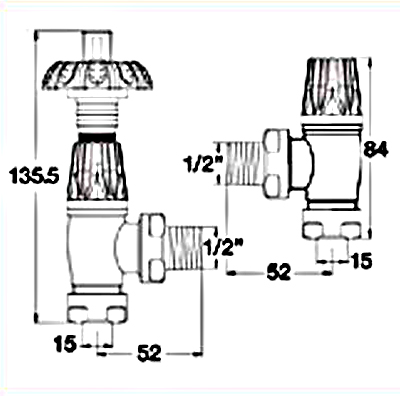 GOTHIC-AB radiator valve sizes dimensions
